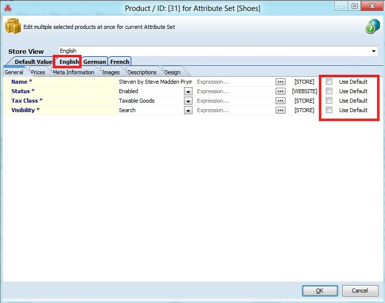 Changing General Product Data to Default