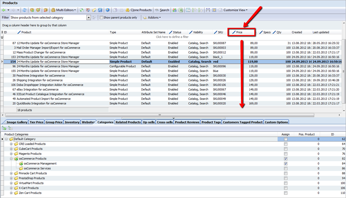 Data Sorting in Store Manager for MagentoColumns