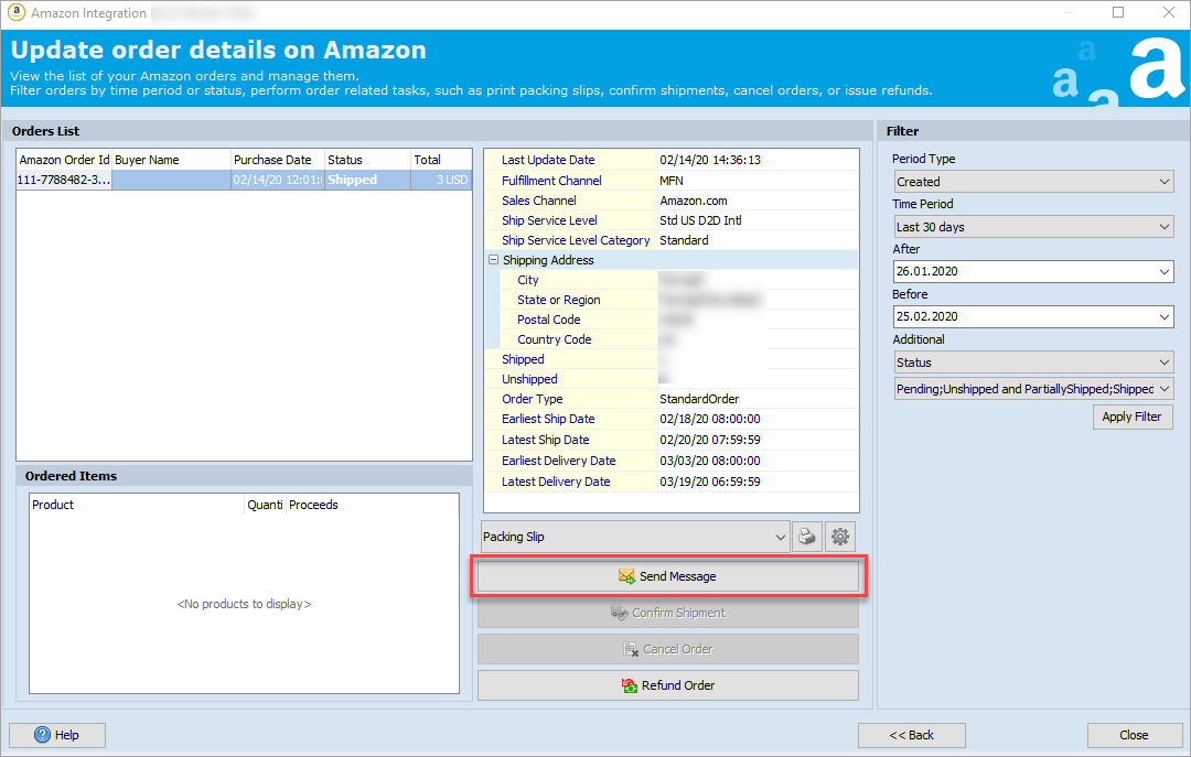 Send Message Option in the Amazon Integration