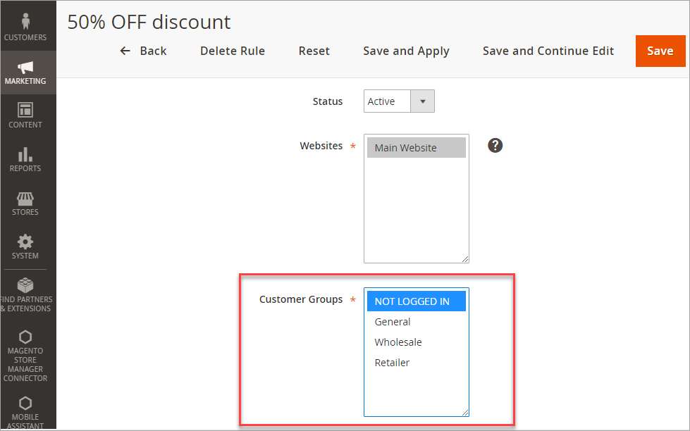 Customer Groups in Magento Price Rules Settings