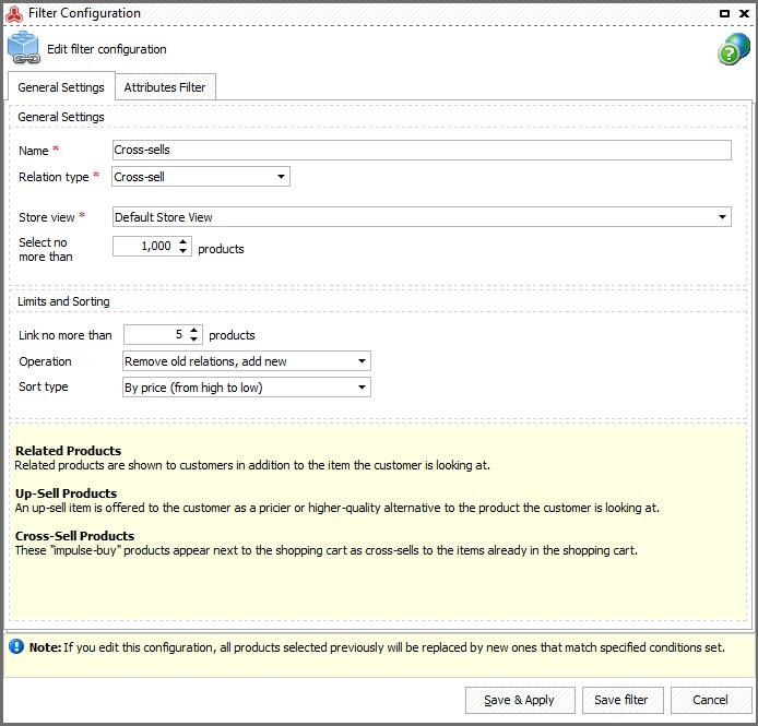 Magento Store Manager Related Products generator Filter Configuration