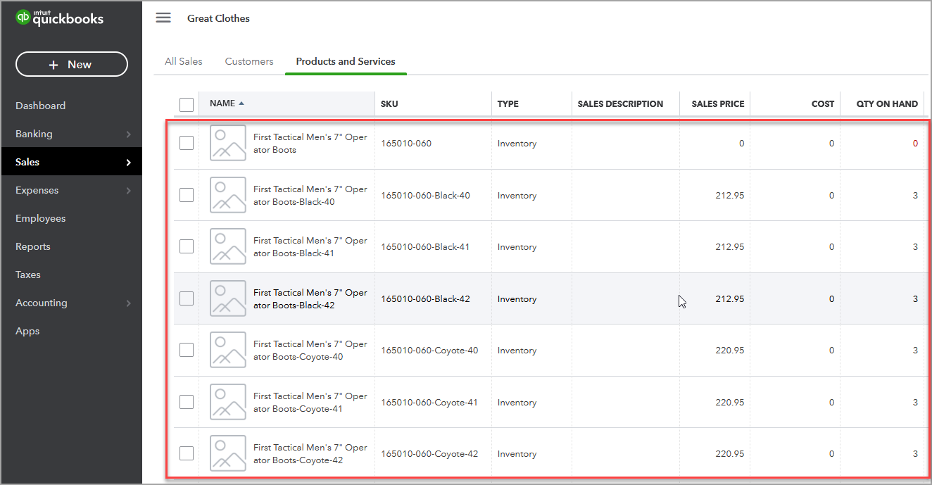 Magento Configurable products In QuickBooks Online