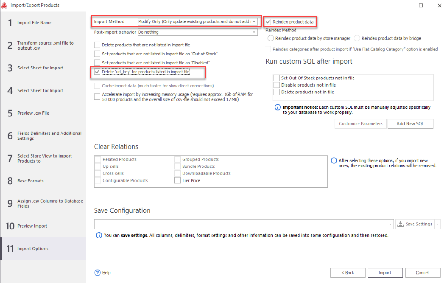 Magento Import URL key Update Import Method Step
