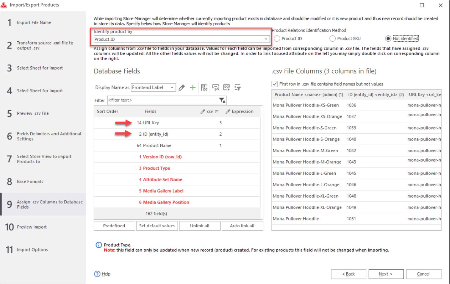 Magento URL Key Import Mapping Step
