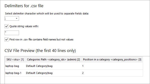 Import File Delimiters