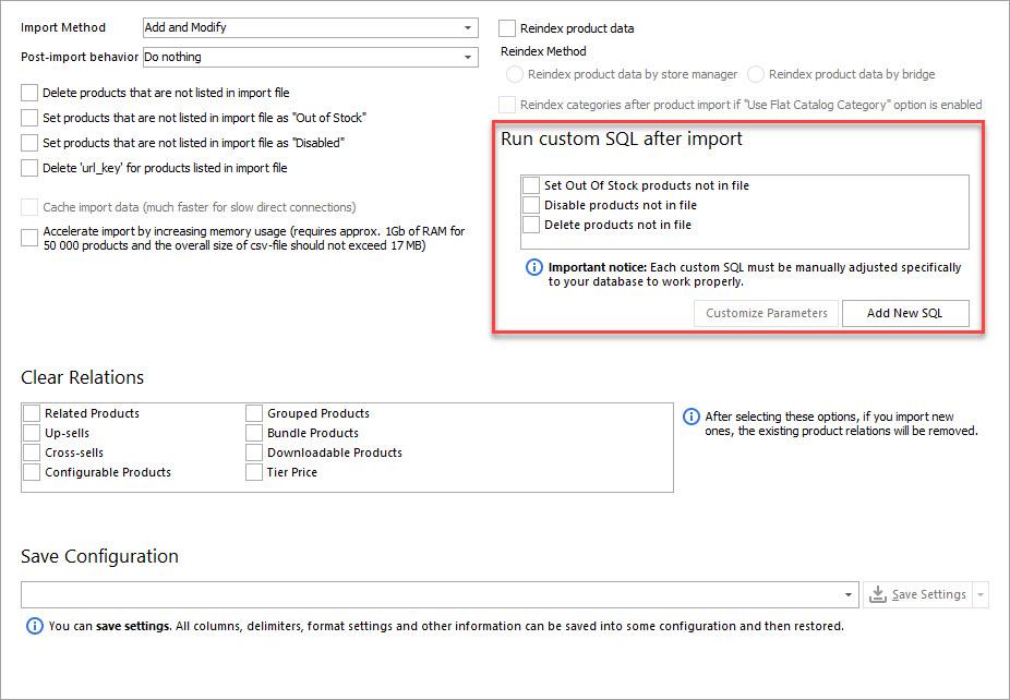 Run Custom SQL after Import Option