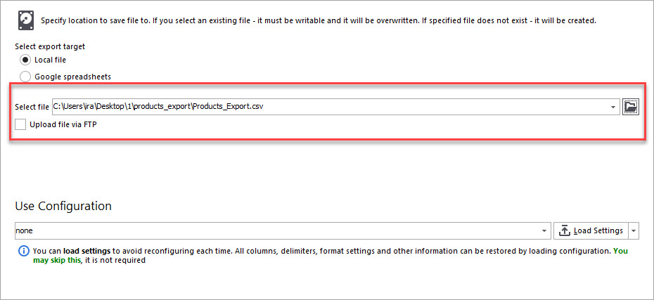Select File for Product Export