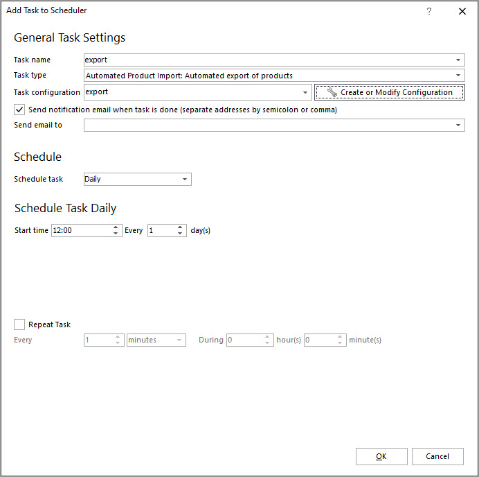 Add Export to Scheduler in Store Manager