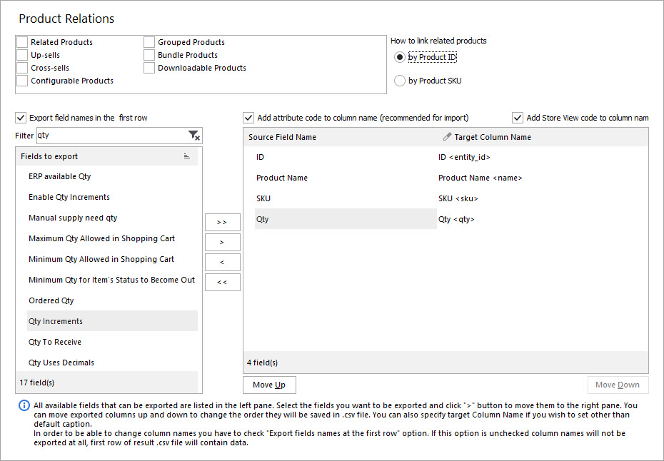 Select Fields for Export with Store Manager