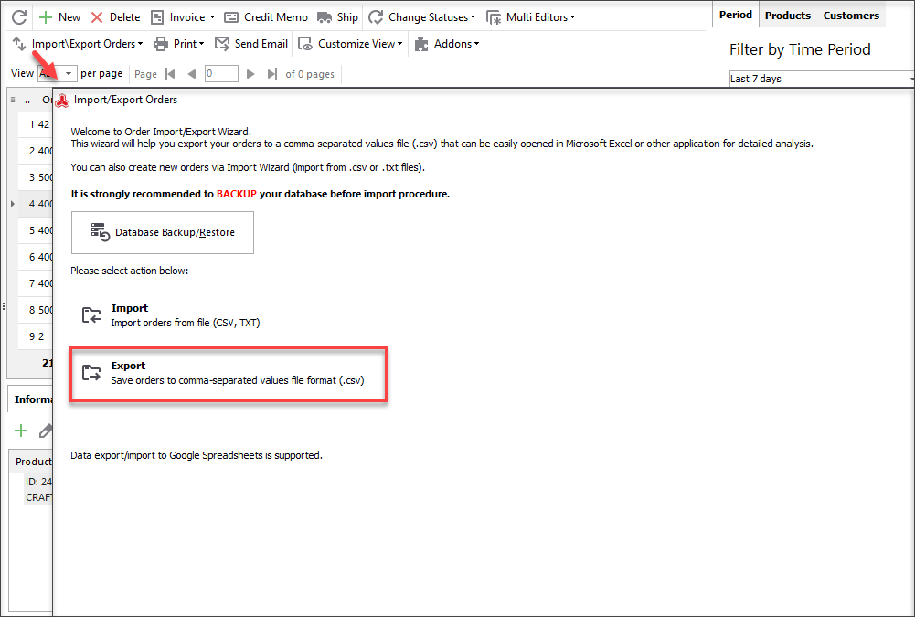 Use Store Manager to Export Magento Orders to CSV File