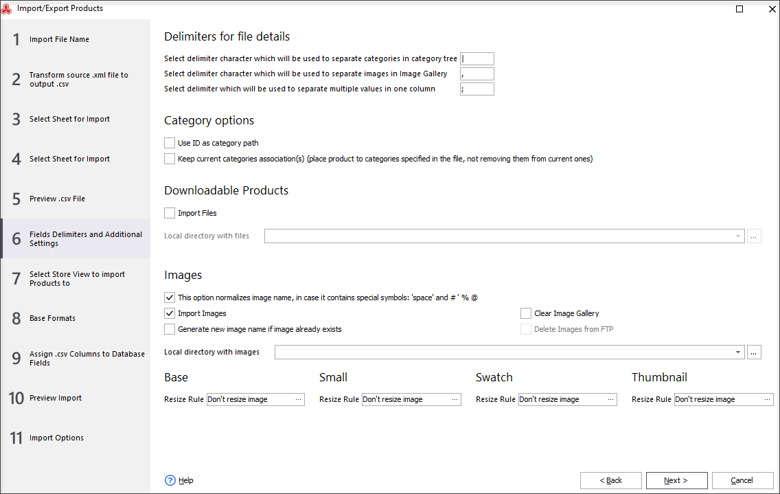 Fields Delimiters and Additional Settings
