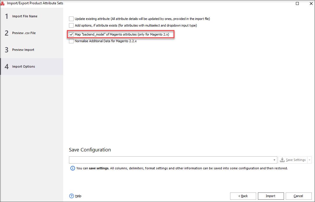 Configure import options