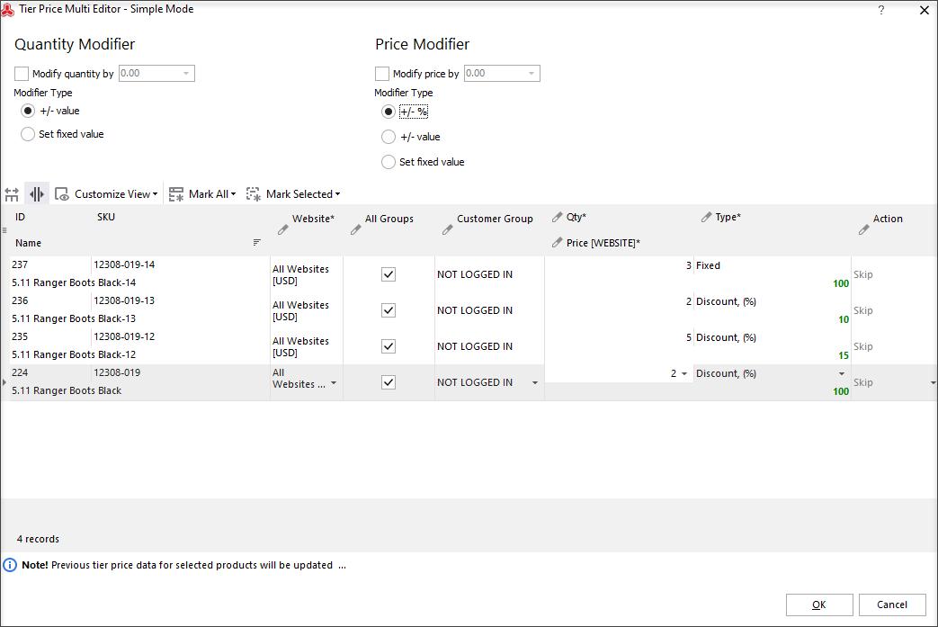 Tier Price Multi Editor