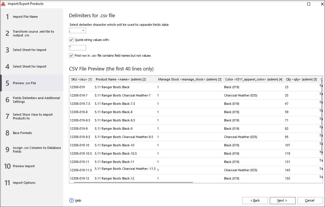 Preview .csv File