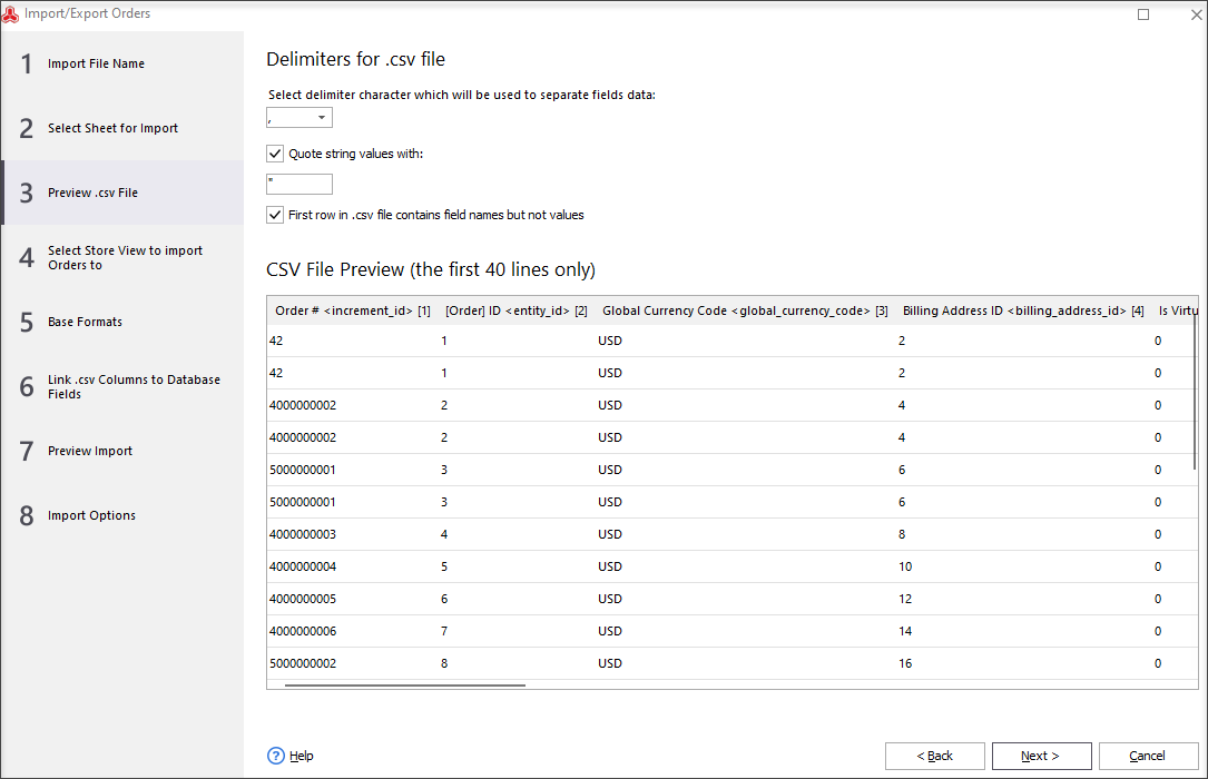 Preview CSV File During Magento Orders Import