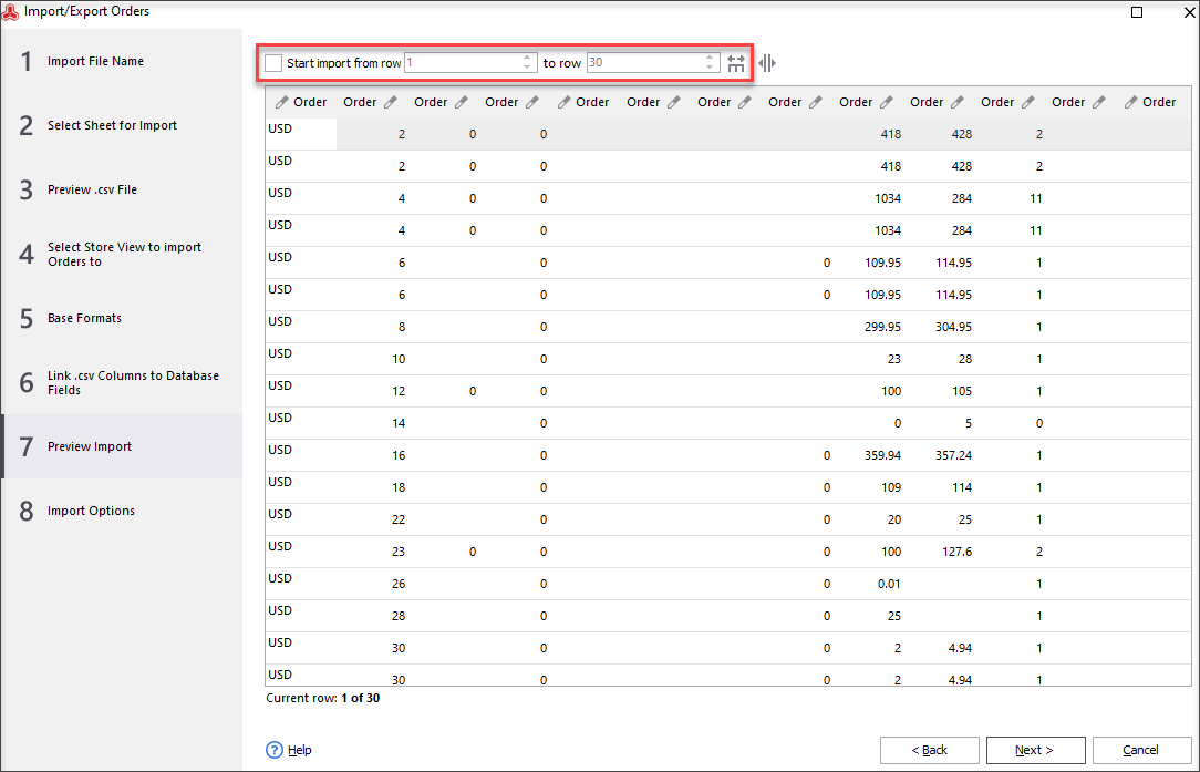 Select Rows to Import Certain Orders to Magento from the File