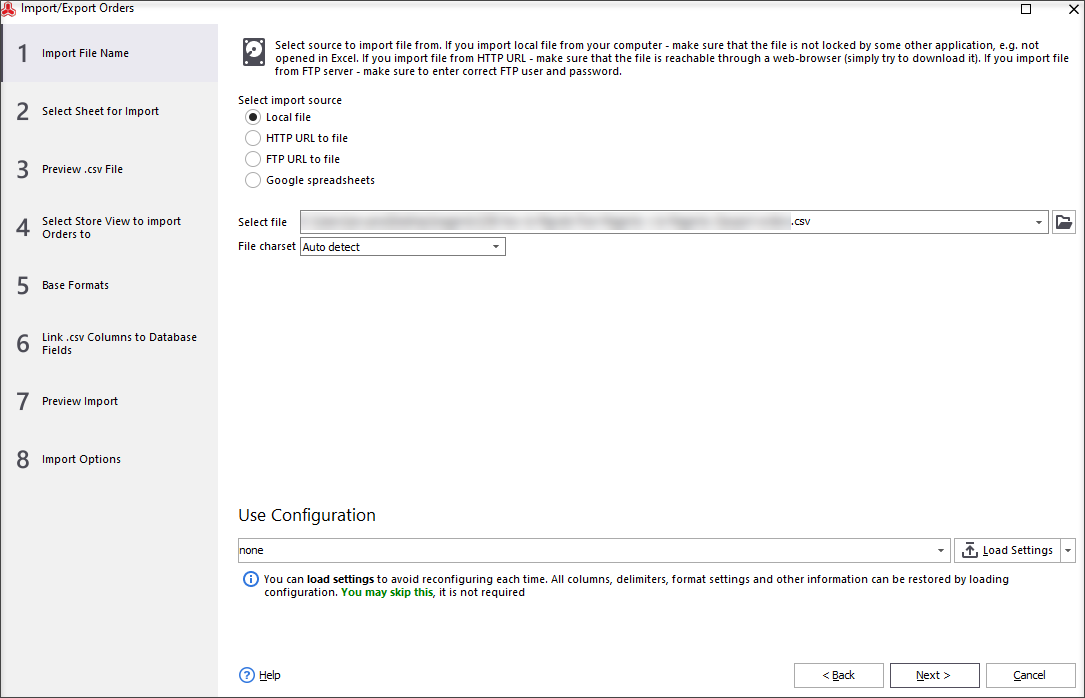 Select a CSV or TXT File With Orders or Provide an FTP or HTTP link