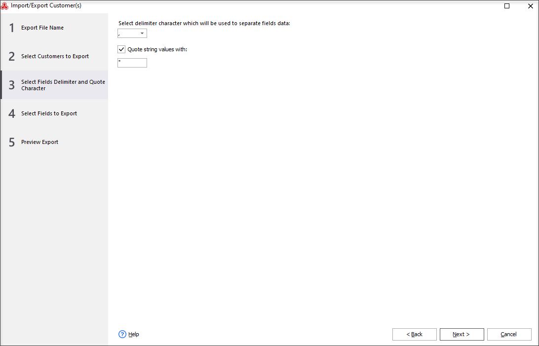 Select file delimiters symbols