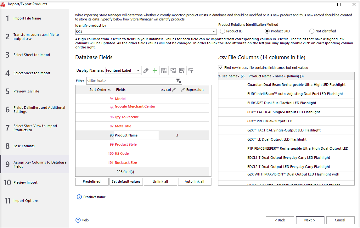 Assign .csv Columns to Database Fields