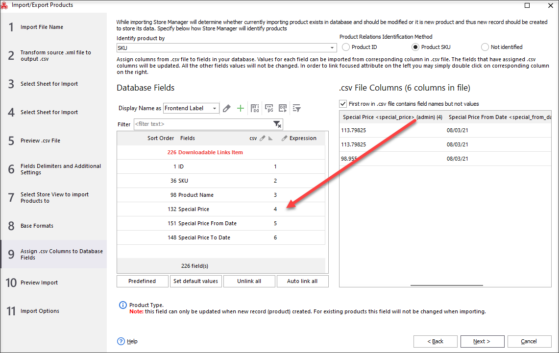 Assign .csv columns with information to appropriate database names