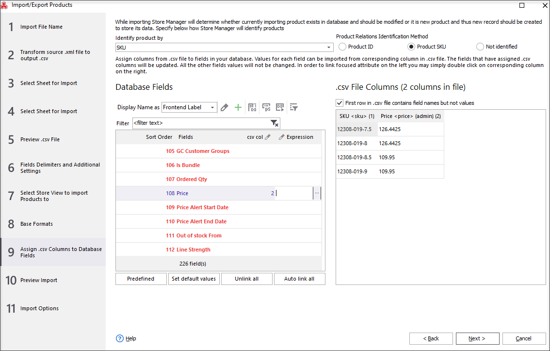 Assign CSV columns to database fields