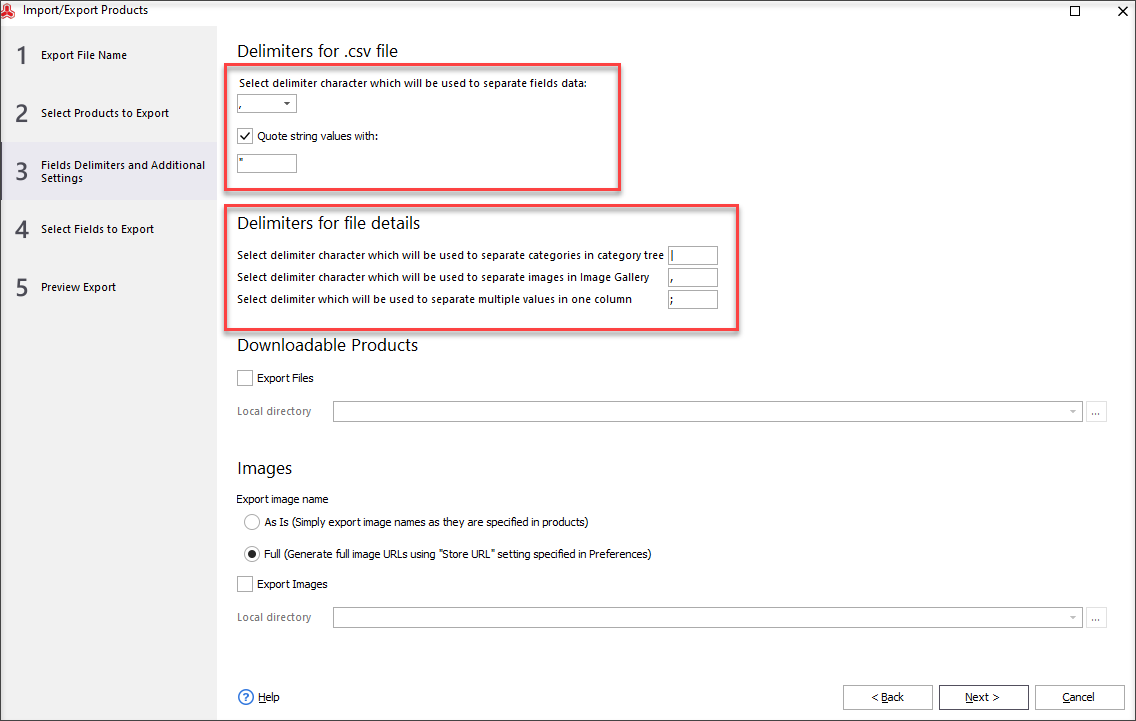 Choose Fields Delimiters and Configure Additional Settings