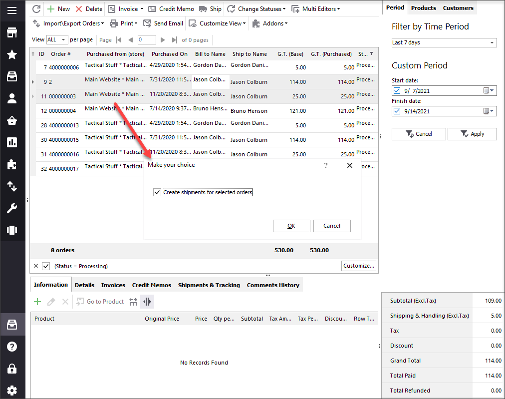 Create Shipments For Selected Orders