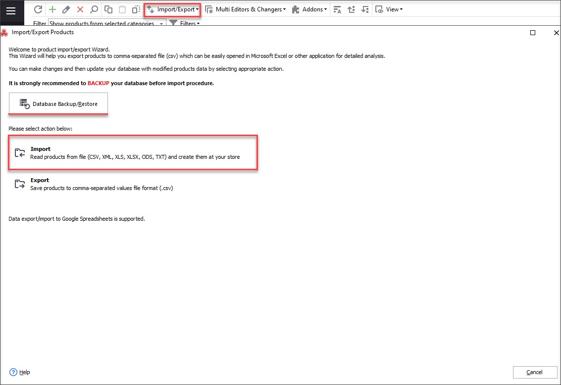 Find Import Export section on the toolbar and select 'Products' from the list