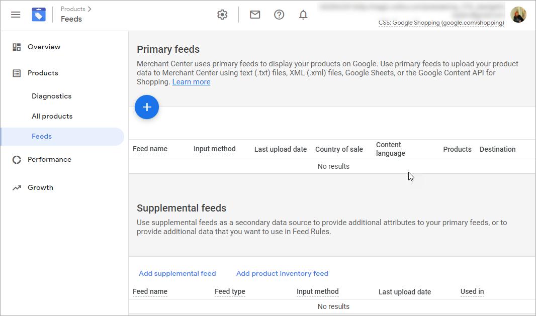 Google Merchant Add New Primary Feed