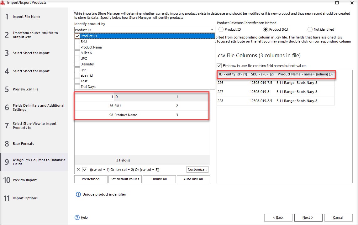 While Updating a SKU via Import Check If Columns in a File Are Mapped to Appropriate Database Fields