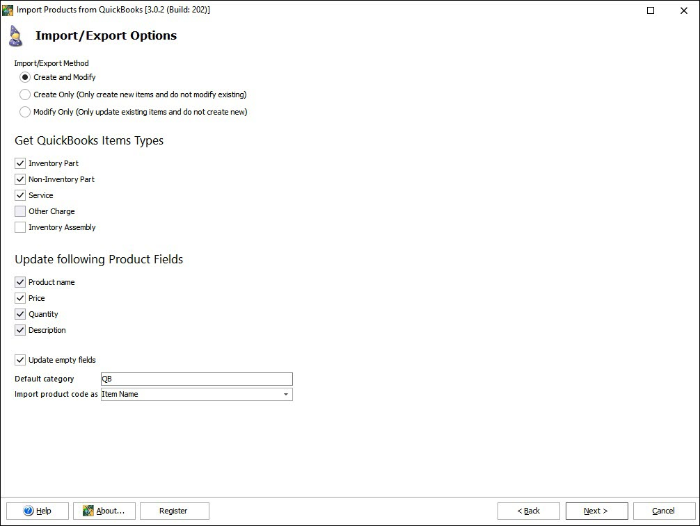 Import Products from QuickBooks to Magento