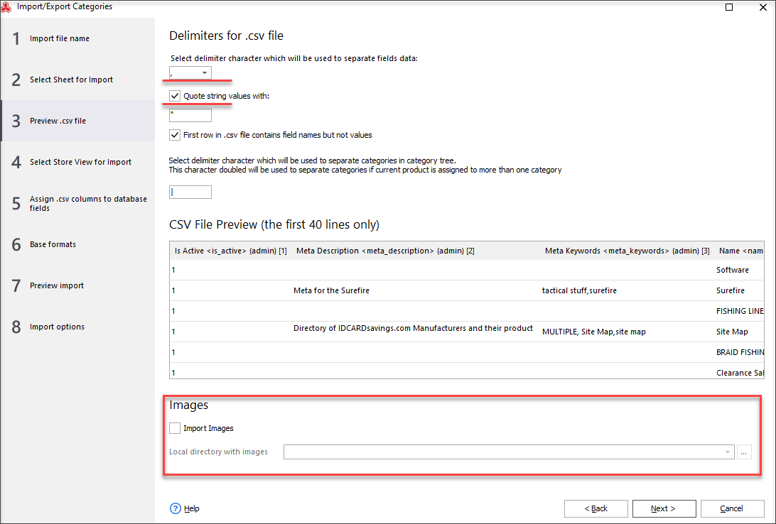 Preview .csv File, Set Delimiters and Image Options