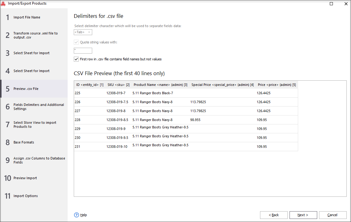 Preview .csv File and Set Delimiters for .csv File