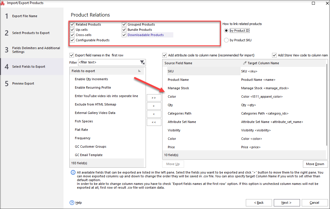 Select Fields and Product Relations to Export