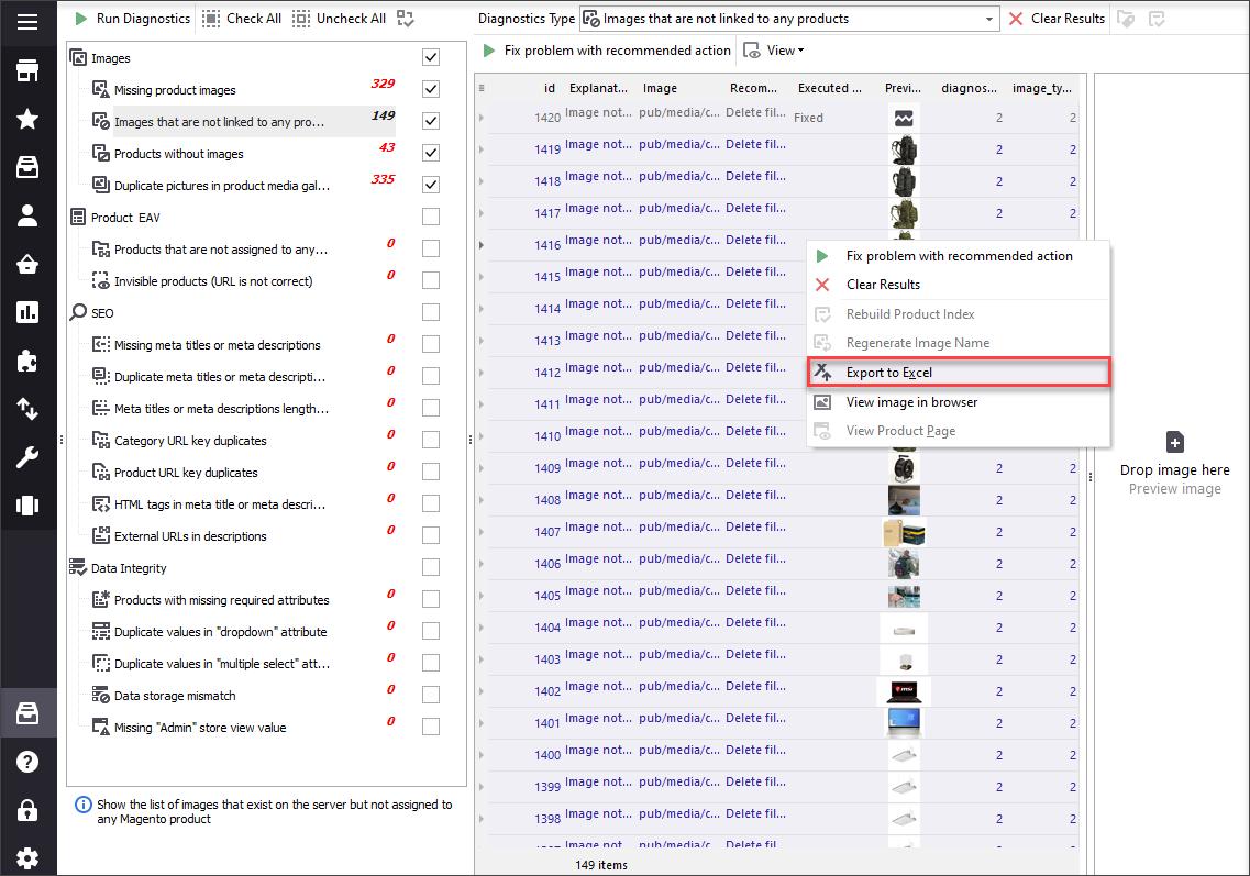 Export Magento image diagnostics results to Excel