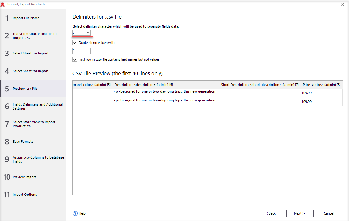 Preview .csv file and select delimiters